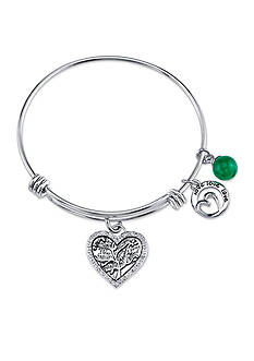 Belk Silverworks 'Family Where Life Begins' Charm in Stainless Steel with Green Aventuine Bead Bracelet