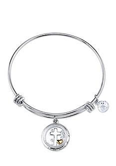 Belk Silverworks Stainless Steel Two-Tone Cross Bangle Bracelet