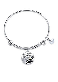 Belk Silverworks Silver-Tone 'Lucky to Have You' Elephant Charm Bangle Bracelet