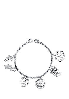 Belk Silverworks Stainless Steel Faith Cross Charm Link Bracelet