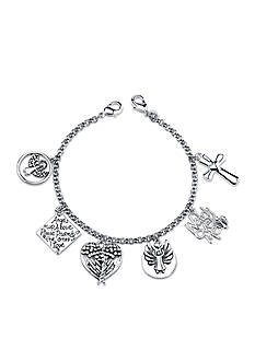 Belk Silverworks Stainless Steel Watch Over Me Angel Charm Link Bracelet