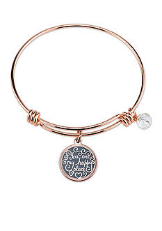 Belk Silverworks Rose Gold-Tone Heart Charm Bangle Bracelet