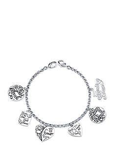 Belk Silverworks Stainless Steel Best Friends, Friends Forever, Heart Charm Link Bracelet