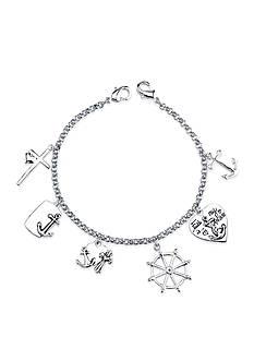Belk Silverworks Stainless Steel Faith Is My Anchor Cross Charm Link Bracelet