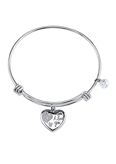 Belk Silverworks Stainless Steel 'Mom I Love You' Heart Crystal Bead Bracelet