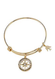 Belk Silverworks Gold-Tone Wanderlust Round Compass Crystal Charm Bracelet
