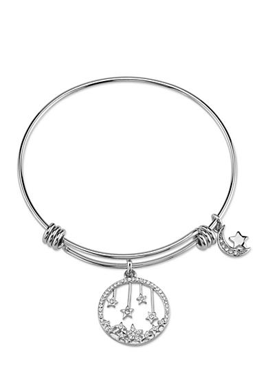 Belk Silverworks Stainless Steel Crystal Moon and Stars Round Charm Bracelet
