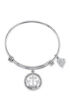 Belk Silverworks Stainless Steel Faith Crystal Cross and Heart Bangle Bracelet