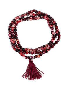 Belk Silverworks Silver Plated Red Fire Agate Bead Wrap Bracelet
