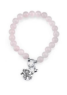 Belk Silverworks Stainless Steel Mom Rose Quartz Stretch Bracelet