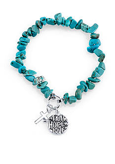 Belk Silverworks Stainless Steel Faith Hope Love Turquoise Stretch Bracelet