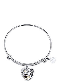 Belk Silverworks Stainless Steel Two Tone 'If Daughters Were Flowers' Crystal Charm Bracelet