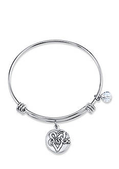 Belk Silverworks Silver-Tone Sister Expandable Charm Bangle Bracelet