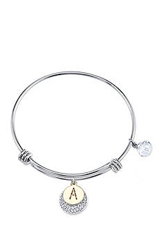 Belk Silverworks Stainless Steel Two Tone 'A' Initial Crystal Bracelet