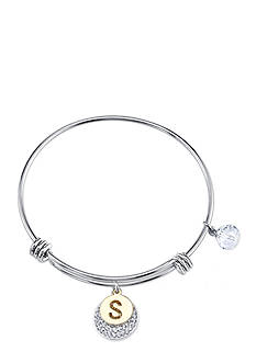 Belk Silverworks Two-Tone Initial Letter 'S' Crystal Bracelet