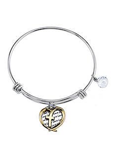 Belk Silverworks Stainless Steel Two-Tone Faith Hope Love Heart Cross Bracelet