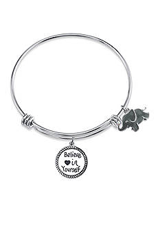 Belk Silverworks Stainless Steel Elephant Charm Bangle Bracelet