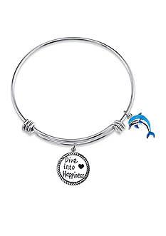 Belk Silverworks Stainless Steel Dolphin Charm Bangle Bracelet