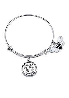 Belk Silverworks Stainless Steel Bee Enamel Charm Bangle Bracelet