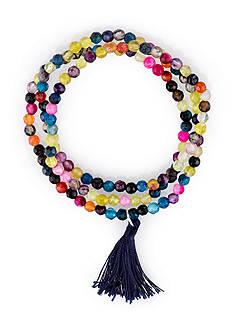 Belk Silverworks Silver-Tone Multi-Color Beaded Montana Tassel Triple Wrap Bracelet