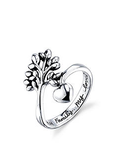 Belk Silverworks Sterling Silver 'My Family My Love' Tree and Heart Wrap Ring