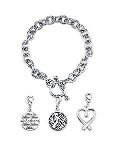 Belk Silverworks Stainless Steel MOM Round Toggle Charm Link Bracelet Set