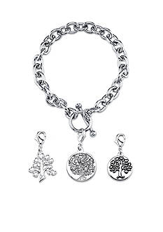 Belk Silverworks Stainless Steel Family Tree Round Toggle Charm Link Bracelet Set