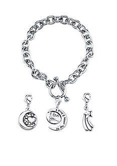 Belk Silverworks Stainless Steel 'I Love You To The Moon & Back' Toggle Charm Link Bracelet Set