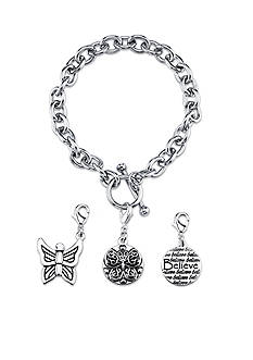 Belk Silverworks Stainless Steel Believe Butterfly Toggle Charm Link Bracelet Set