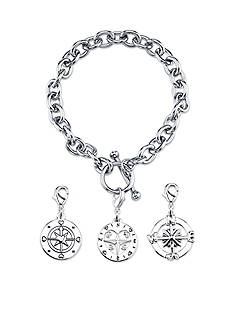 Belk Silverworks Stainless Steel Compass Toggle Charm Link Bracelet Set