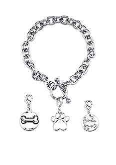 Belk Silverworks Stainless Steel Dog Paw and Bone Toggle Charm Link Bracelet Set