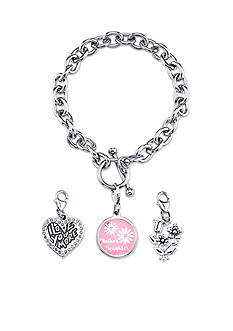 Belk Silverworks Silver-Tone Mother and Daughter Bracelet and Charm Set