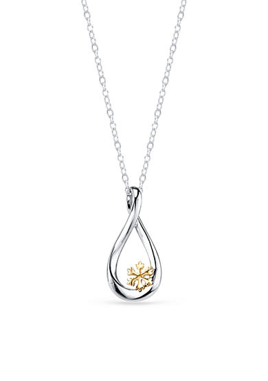 Belk Silverworks Sterling Silver Disney 10k Yellow Gold Two Tone Let it Snow Necklace<br>