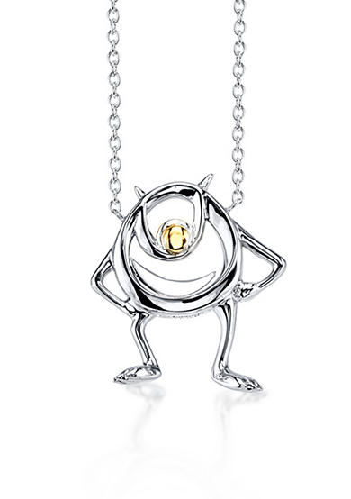 Belk Silverworks Sterling Silver Disney Pixar 10K Yellow Gold Two Tone Mike Monster Necklace