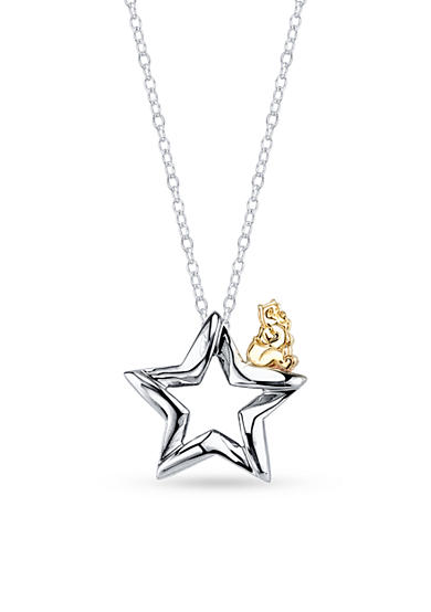 Belk Silverworks Sterling Silver Disney 10k Yellow Gold Two Tone Pooh Wishes Necklace<br>
