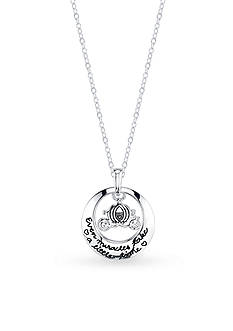 Belk Silverworks Sterling Silver Disney Even Miracles Take a Little Time Carriage Round Necklace