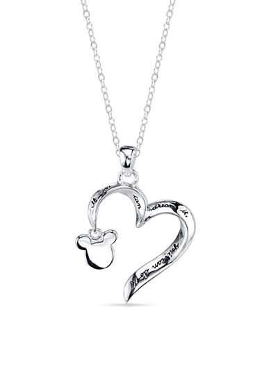 Belk Silverworks Sterling Silver If You Can Dream It You Can Do It Open Heart Mickey Mouse<br>