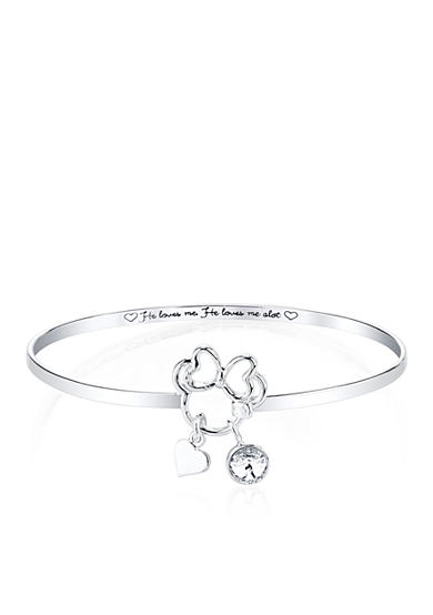 Belk Silverworks Silver Plated Disney® He Loves Me Minnie Catch Bangle
