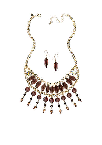 New Directions® Gold-Tone Purple Multistrand Necklace and Earrings Boxed Set