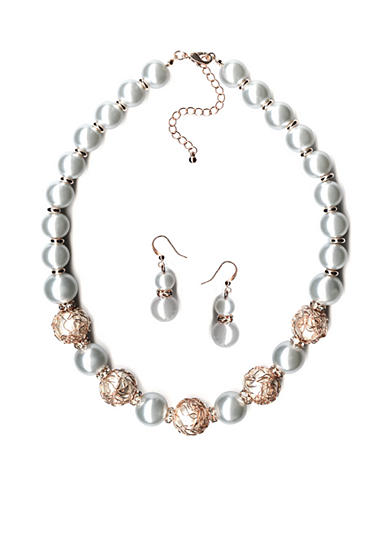 New Directions® Rose Gold-Tone Glass Pearl Necklace and Earrings Boxed Set