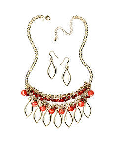 New Directions Gold-Tone Coral Collar Necklace and Earrings Boxed Set