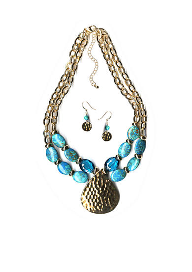 New Directions® Gold-Tone Blue Jasper Pendant Necklace and Earrings Boxed Set