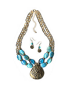 New Directions Gold-Tone Blue Jasper Pendant Necklace and Earrings Boxed Set