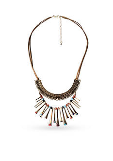 New Directions Gold-Tone Bead Fusion Statement Necklace