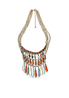 New Directions Gold-Tone Tropical Oasis Beaded Statement Necklace