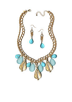 New Directions Gold-Tone Teal Howlite Necklace and Earrings Boxed Set