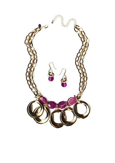 New Directions® Gold-Tone Purple Stone Pendant Necklace and Earrings Boxed Set