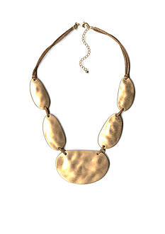 New Directions Gold-Tone Uneven Oval Statement Necklace