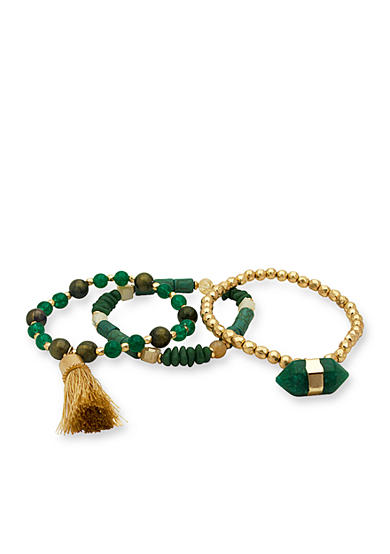 Gold-Tone Jade Garden Beaded Stretch Bracelet Set