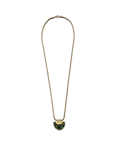 New Directions® Gold-Tone Jade Half Moon Disc Pendant Necklace